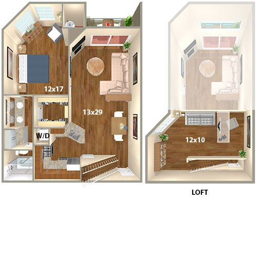 Floor Plan. HillCreste (CA) Apartments   1 Bed/1 Bath   The Beverly With  Loft